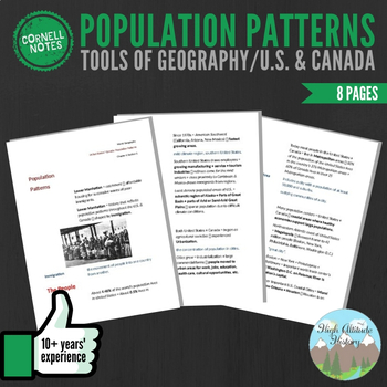 Cornell Notes (Population Patterns) Tools of Geography / United States & Canada