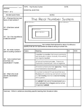 Cornell Notes Real Number System