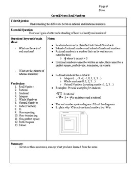Cornell Notes: Real Number System including cut-out chart