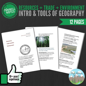 Cornell Notes (Resources, Trade & Environment) Introduction & Tools of Geography