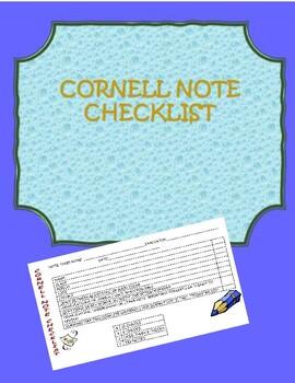 Cornell Notes Rubric/Checklist