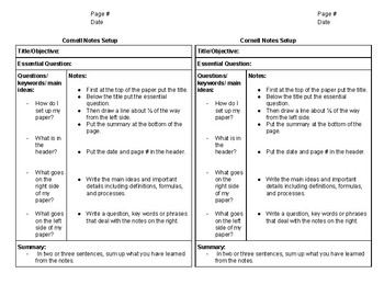 Cornell Notes: Sample Template