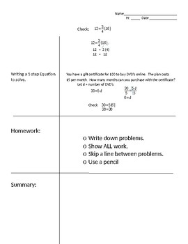 Cornell Notes - Solving One-step Equations