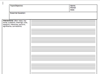 Cornell Notes Style with Music Bars (editable)