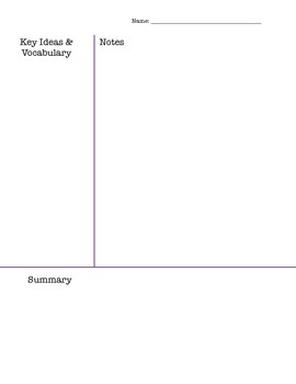 Cornell Notes - Template