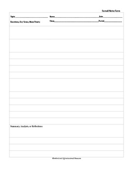 Cornell Notes Template - guide students in learning to take notes