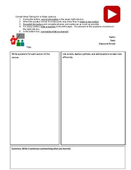 Cornell Notes Template for Video Lectures for a Flipped Classroom (pdf)