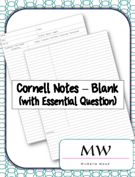 Cornell Notes Template with Essential Question