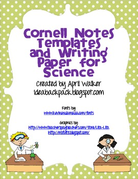 Cornell Notes Templates and Writing Paper for Science - Freebie
