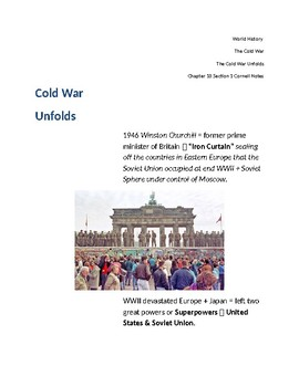 Cornell Notes (The Cold War Unfolds) The Cold War