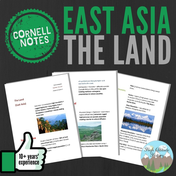 Cornell Notes (The Land) East Asia