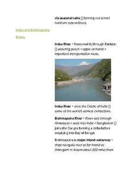 Cornell Notes (The Land) South Asia
