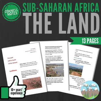 Cornell Notes (The Land) Sub-Saharan Africa / Africa South