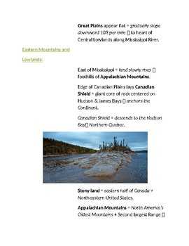 Cornell Notes The Land (Tools of Geography / United States & Canada)
