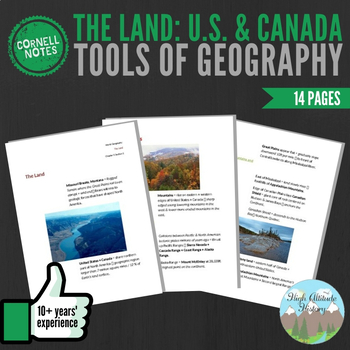Cornell Notes The Land (Tools of Geography / United States