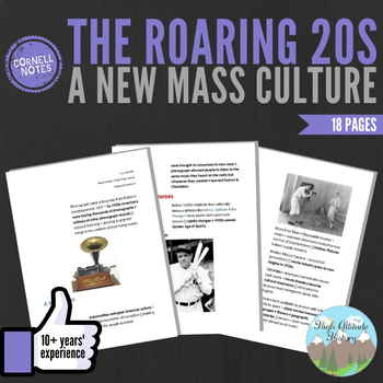Cornell Notes (The Roaring 20's) A New Mass Culture