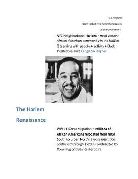 Cornell Notes (The Roaring 20's) The Harlem Renaissance