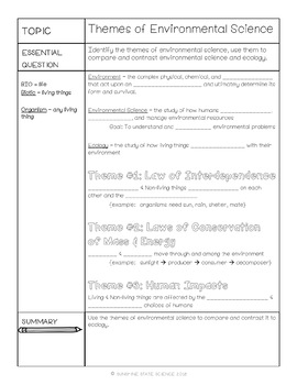 Cornell Notes Themes of Environmental Science PLUS ACTIVITY
