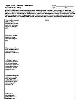 Cornell Notes and Quiz Ch 2: Plot & Structure (Perrine) AP Literature