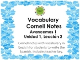 Cornell Notes for Avancemos 1, Unit 1, Lesson 2
