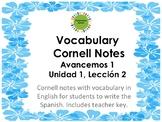 Cornell Notes for Avancemos 1, Unit 1, Lesson 2