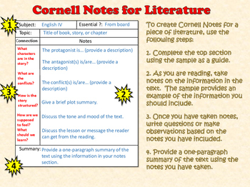 Cornell Notes for Literature Poster