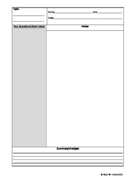Cornell Notes for Math Printable Worksheets
