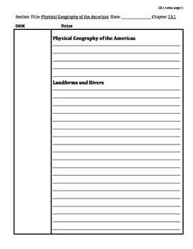 Cornell Notes for McDougal Littel World History 2007- 13.1