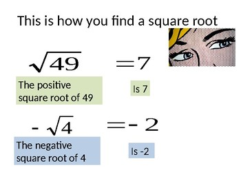 Cornell Notes for teaching square roots