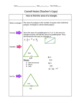 Cornell Notes on the area of a triangle