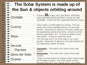 Cornell Notes over the Solar System