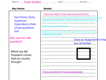 Cornell Notes with Boxes & Example