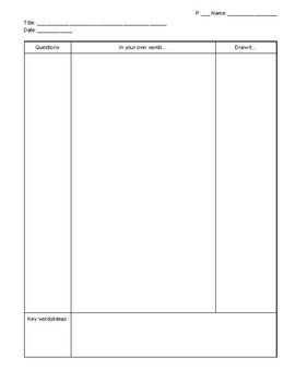 Cornell Style In-class Notes Worksheet