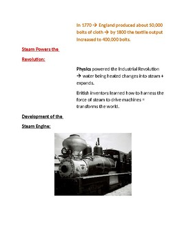 Cornell Notes (A New Kind Of Revolution) Industrial Revolution