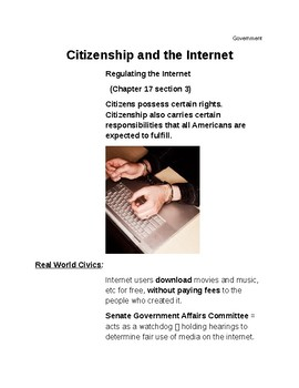 Cornell Notes (Citizenship and Internet) Regulating the Internet