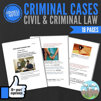 Cornell Notes (Civil and Criminal Law) CRIMINAL CASES
