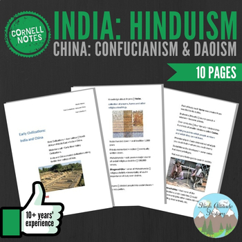 Cornell Notes (India: Hinduism China: Confucianism & Daoism)