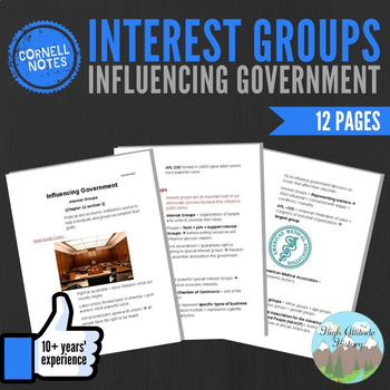 Cornell Notes (Influencing Government) Interest Groups