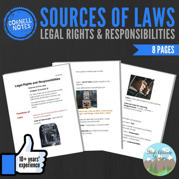 Cornell Notes (Legal Rights + Responsibilities) Sources of Laws