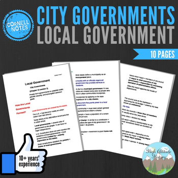 Cornell Notes (Local Government) City Governments