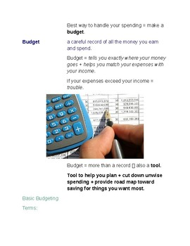 Cornell Notes (Personal Finance + Economics) Planning + Budgeting