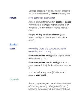 Cornell Notes (Personal Finance and Economics) Saving + Investing