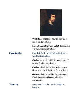 Cornell Notes (Protestant Reformation)