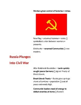 Cornell Notes (Revolution and Civil War in Russia) World War 1