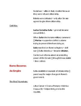 Cornell Notes (Roman Empire to Republic / Emperors / Pax Romana)