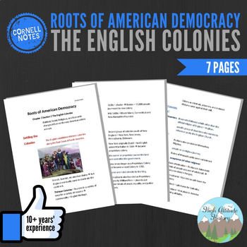 Cornell Notes (Roots of American Democracy) The English Colonies