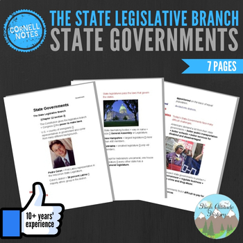 Cornell Notes (State Governments) The State Legislative Branch