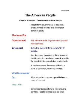 Cornell Notes (The American People) Government and the People