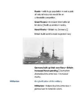 Cornell Notes (The Great War Begins) World War 1 (WWI)