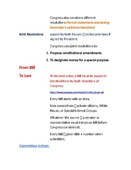 Cornell Notes (The Legislative Branch) How A Bill Becomes A Law